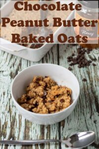 A bowlo of chocolate peanut butter baked oats. Pin title text overlay at top.