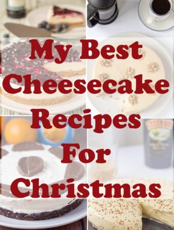 Collage of pictures of my best cheesecake recipes for Christmas with title text overlay.