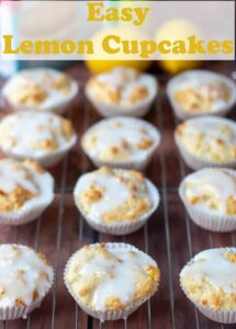 Twelce easy lemon cupcakes on a wire baking rack. Pin title text overlay at top.