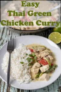 A plate of easy Thai green chicken curry served with rice and a fork to the left hand side. Pin title text overlay at top.